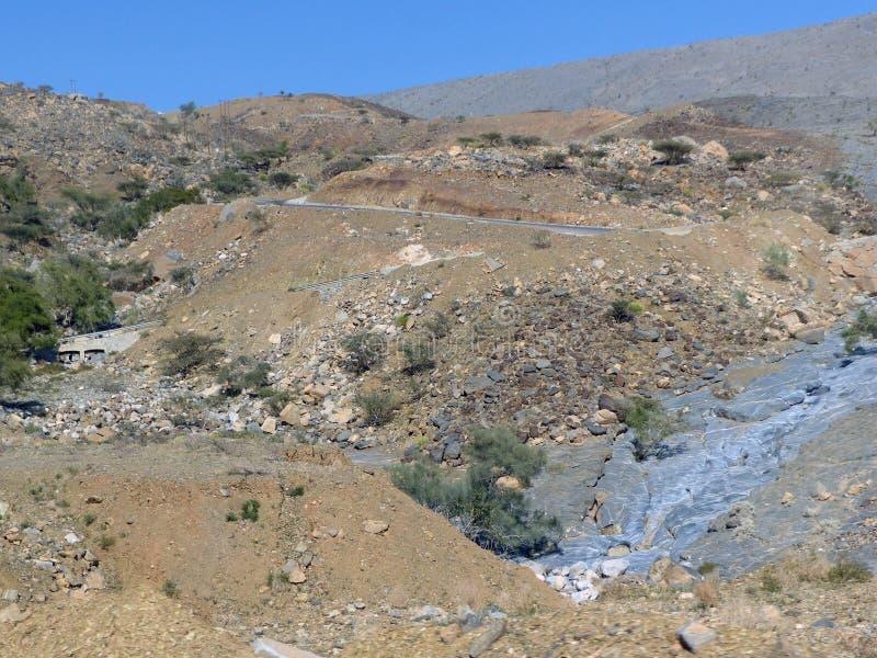 Ο δρόμος στο Jebel υποκρίνεται την άποψη, Ομάν στοκ φωτογραφίες