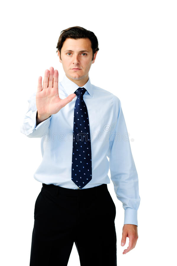 Download Ο δυστυχισμένος επιχειρηματίας εμφανίζει «στάση!» Στοκ Εικόνες - εικόνα από αντισταθείτε, προειδοποίηση: 22775062
