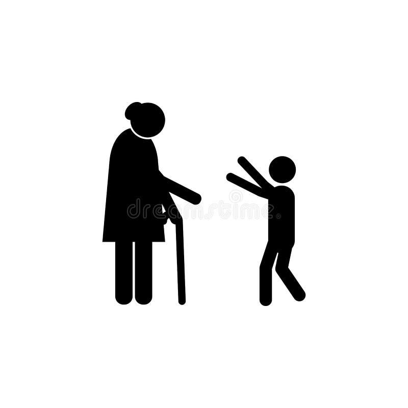 ο εγγονός αγκαλιάζει το εικονίδιο γιαγιάδων Στοιχείο ενός ευτυχούς οικογενειακού εικονιδίου Γραφικό εικονίδιο σχεδίου εξαιρετικής ελεύθερη απεικόνιση δικαιώματος