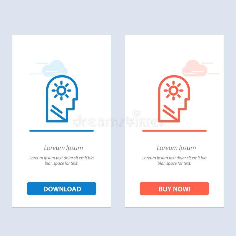 Ο εγκέφαλος, ο έλεγχος, το μυαλό, που θέτουν μπλε και το κόκκινο μεταφορτώνουν και αγοράζουν τώρα το πρότυπο καρτών Widget Ιστού διανυσματική απεικόνιση
