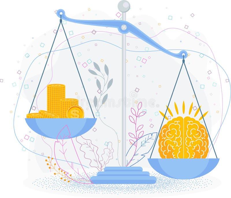 Ο εγκέφαλος είναι πιο ακριβός από τα χρήματα Επιχειρηματική μεταφορά διανυσματική απεικόνιση