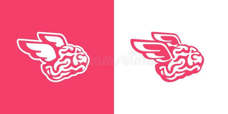 Ο εγκέφαλος με τα φτερά πετά τη διανυσματική απεικόνιση διανυσματική απεικόνιση