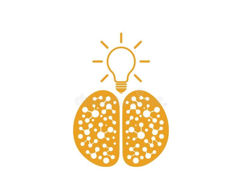 Ο εγκέφαλος με το διάνυσμα λογότυπων εικονιδίων βολβών της ιδέας και σκέφτεται ελεύθερη απεικόνιση δικαιώματος