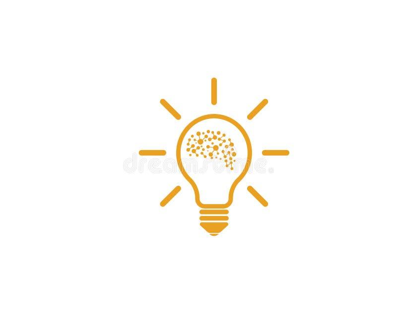 Ο εγκέφαλος με το διάνυσμα λογότυπων εικονιδίων βολβών της ιδέας και σκέφτεται απεικόνιση αποθεμάτων