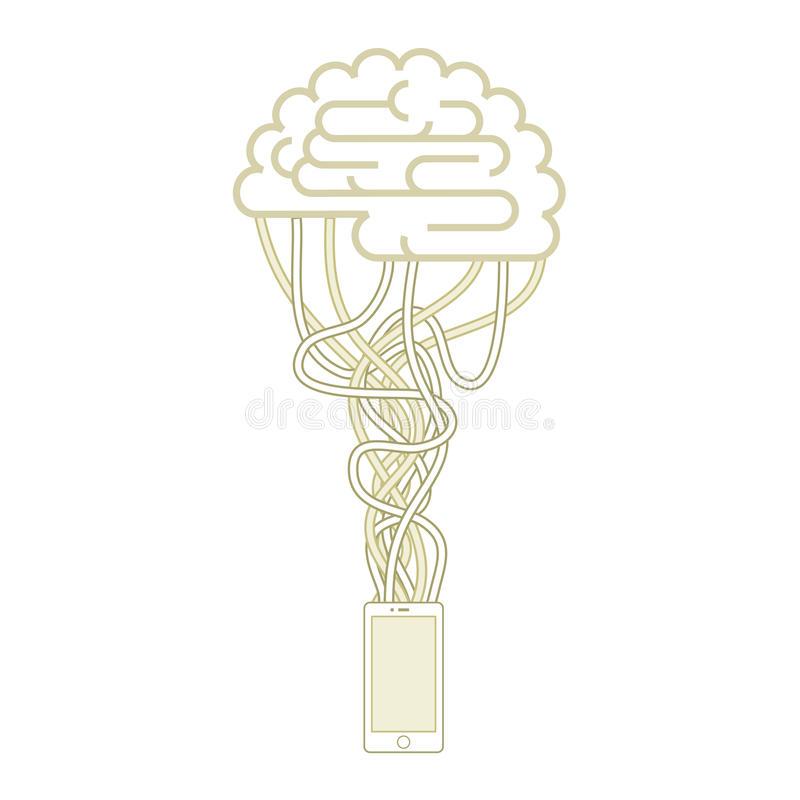 Ο εγκέφαλος συνδέεται με το δίκτυο διανυσματική απεικόνιση