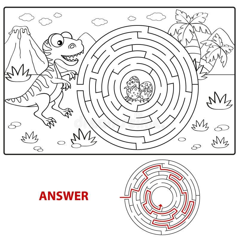 Ο δεινόσαυρος βοήθειας βρίσκει την πορεία για να τοποθετηθεί το λαβύρινθο Παιχνίδι λαβυρίνθου για τα κατσίκια Χρωματίζοντας σελίδ απεικόνιση αποθεμάτων