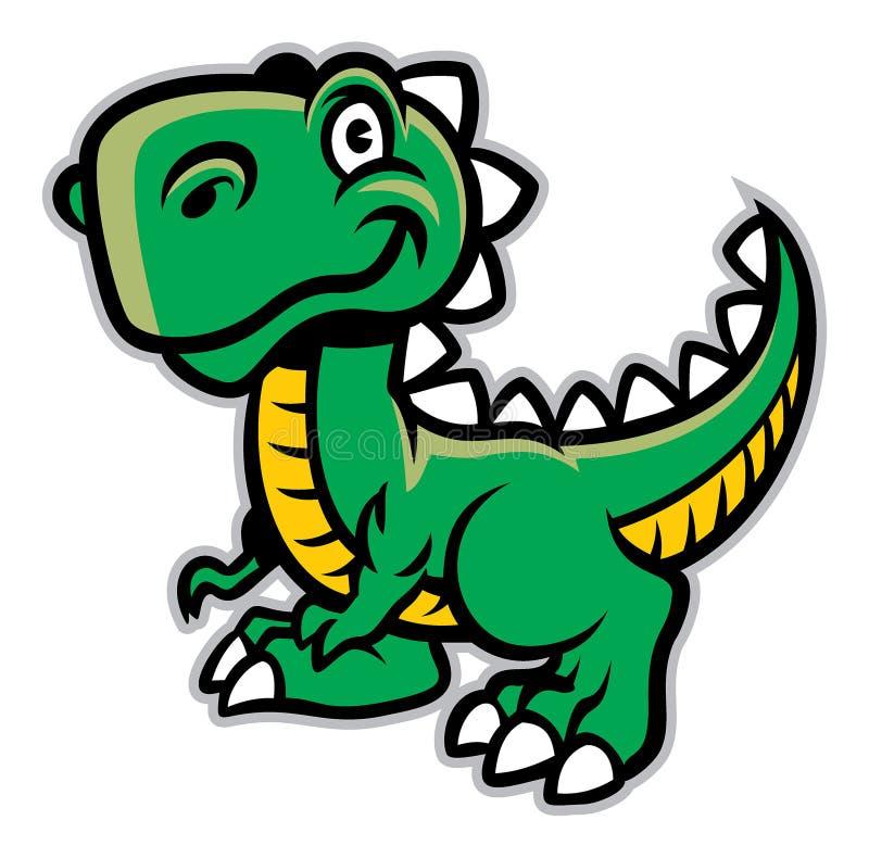 ο δεινόσαυρος κινούμενων σχεδίων απομόνωσε το λευκό απεικόνιση αποθεμάτων