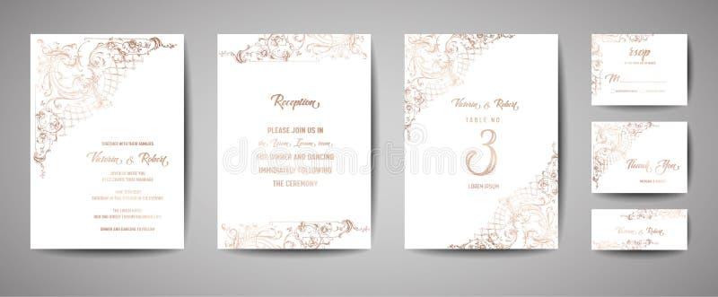 Ο εκλεκτής ποιότητας γάμος πολυτέλειας σώζει την ημερομηνία, τη συλλογή καρτών πρόσκλησης με το χρυσό πλαίσιο φύλλων αλουμινίου κ διανυσματική απεικόνιση