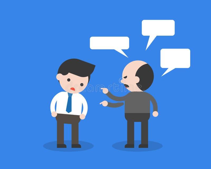 Ο εκλεκτικός προϊστάμενος ή ο πελάτης παραπονιέται στον υπάλληλο ή τον πωλητή ή το busi ελεύθερη απεικόνιση δικαιώματος