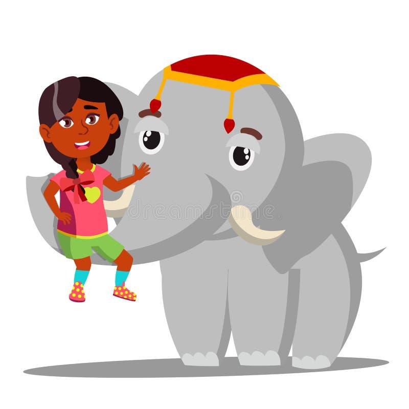 Ο ελέφαντας κρατά το λίγο ινδικό κορίτσι στο διάνυσμα κορμών απομονωμένη ωθώντας s κουμπιών γυναίκα έναρξης χεριών απεικόνιση διανυσματική απεικόνιση