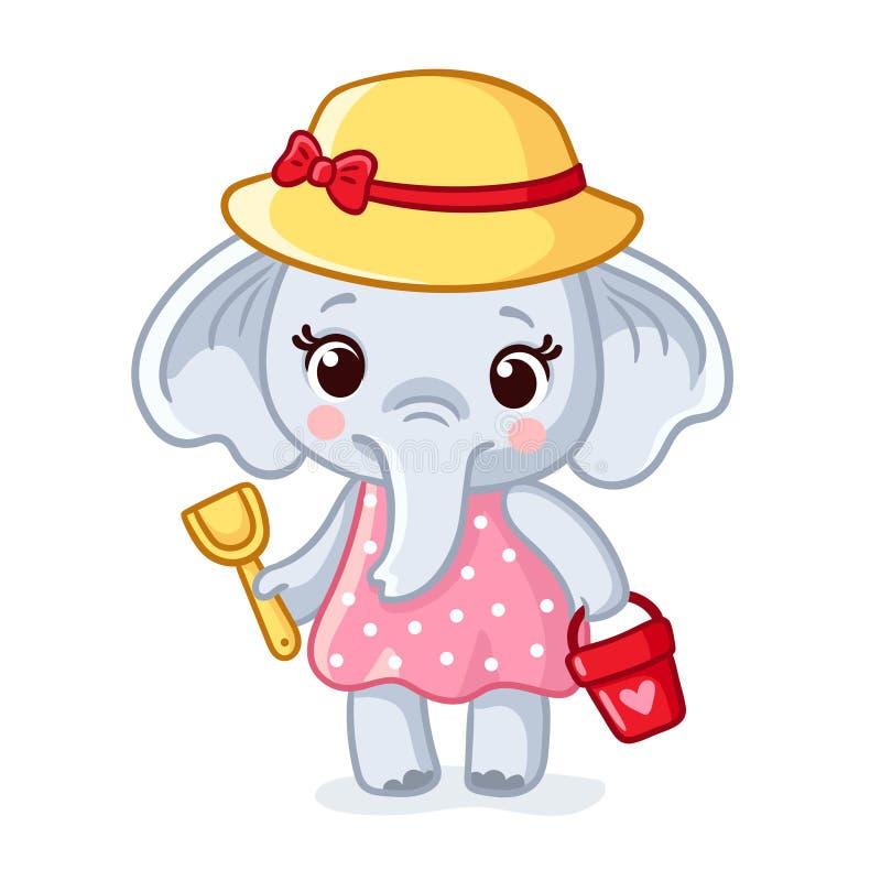 Ο ελέφαντας μωρών σε ένα καπέλο κρατά μια σέσουλα και έναν κάδο ελεύθερη απεικόνιση δικαιώματος
