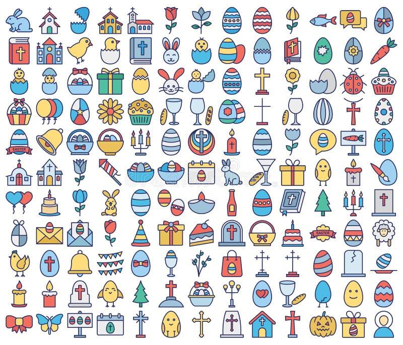 Ο εορτασμός Πάσχας απομόνωσε τα διανυσματικά εικονίδια καθορισμένα που μπορούν να τροποποιηθούν εύκολα ή να εκδώσουν διανυσματική απεικόνιση