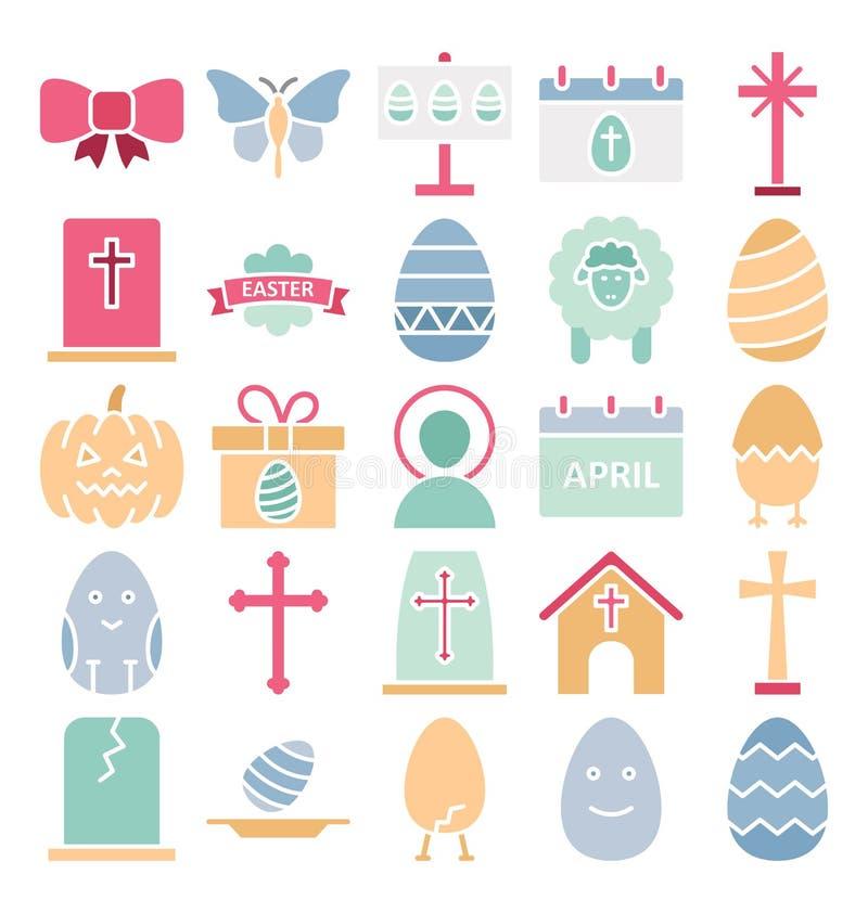 Ο εορτασμός Πάσχας απομόνωσε τα διανυσματικά εικονίδια καθορισμένα που μπορούν να τροποποιηθούν εύκολα ή να εκδώσουν τα απομονωμέ διανυσματική απεικόνιση