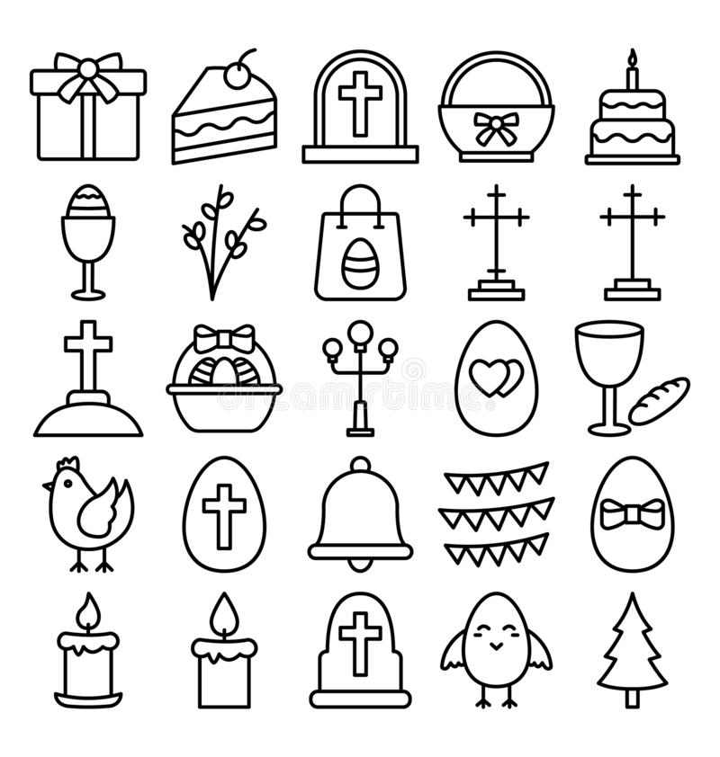 Ο εορτασμός Πάσχας απομόνωσε τα διανυσματικά εικονίδια καθορισμένα που μπορούν να τροποποιηθούν εύκολα ή να εκδώσουν απεικόνιση αποθεμάτων