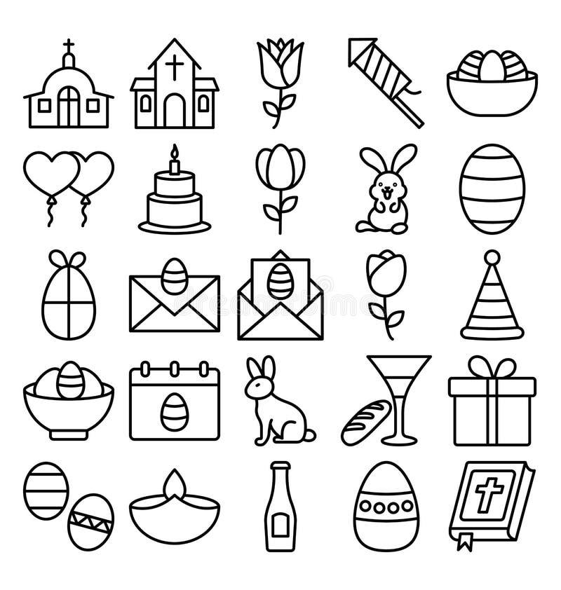 Ο εορτασμός Πάσχας απομόνωσε τα διανυσματικά εικονίδια καθορισμένα που μπορούν να τροποποιηθούν εύκολα ή να εκδώσουν ελεύθερη απεικόνιση δικαιώματος