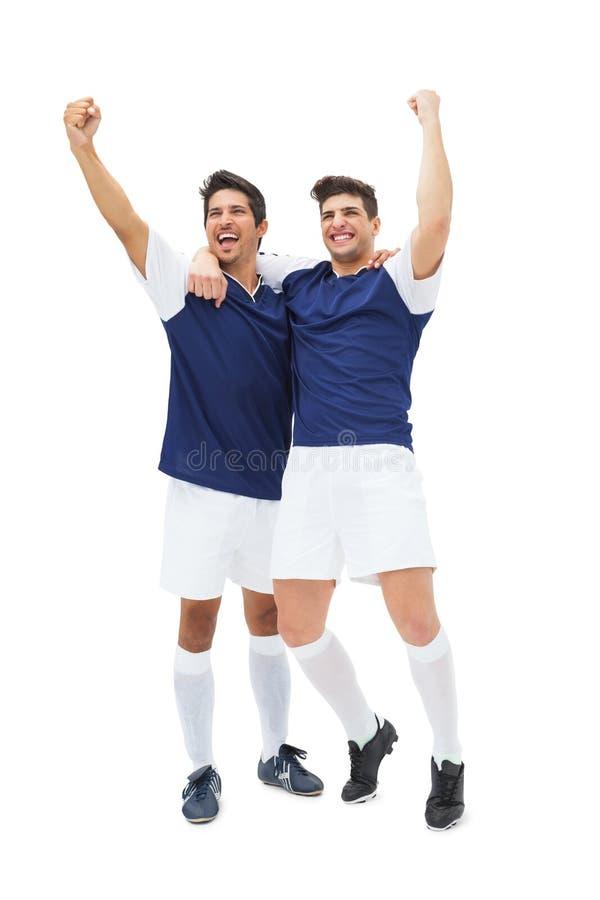 Ο εορτασμός ποδοσφαιριστών κερδίζει στοκ φωτογραφία