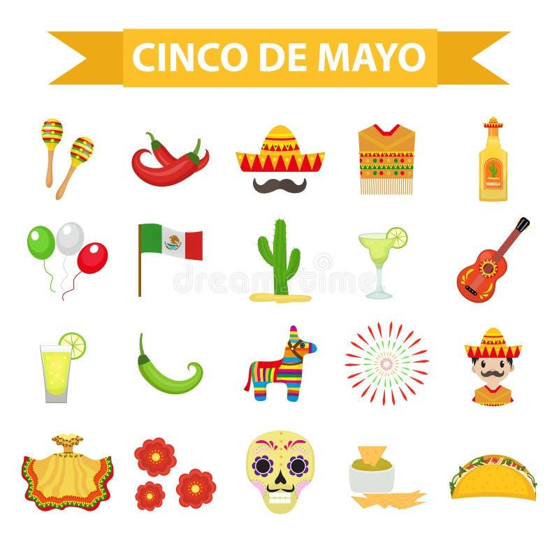 Ο εορτασμός Cinco de Mayo στο Μεξικό, εικονίδια έθεσε, στοιχείο σχεδίου, επίπεδο ύφος Αντικείμενα συλλογής για την παρέλαση Cinco απεικόνιση αποθεμάτων