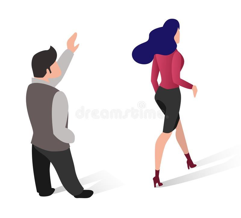 Ο επίπεδος άνδρας φροντίζει την όμορφη αναχώρηση γυναικών ελεύθερη απεικόνιση δικαιώματος