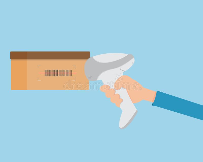 Ο επίπεδος ανιχνευτής κώδικα φραγμών εκμετάλλευσης χεριών και πληρώνει από τον κώδικα φραγμών ελεύθερη απεικόνιση δικαιώματος