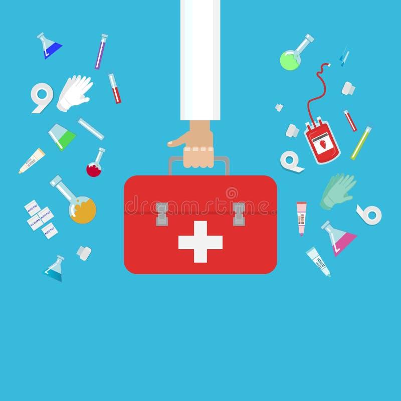 Ο επίπεδος Ιστός ιατρικού εξοπλισμού και το χέρι γιατρών απεικόνισης τυπωμένων υλών με τις πρώτες βοήθειες τοποθετούν τα ιατρικά  διανυσματική απεικόνιση