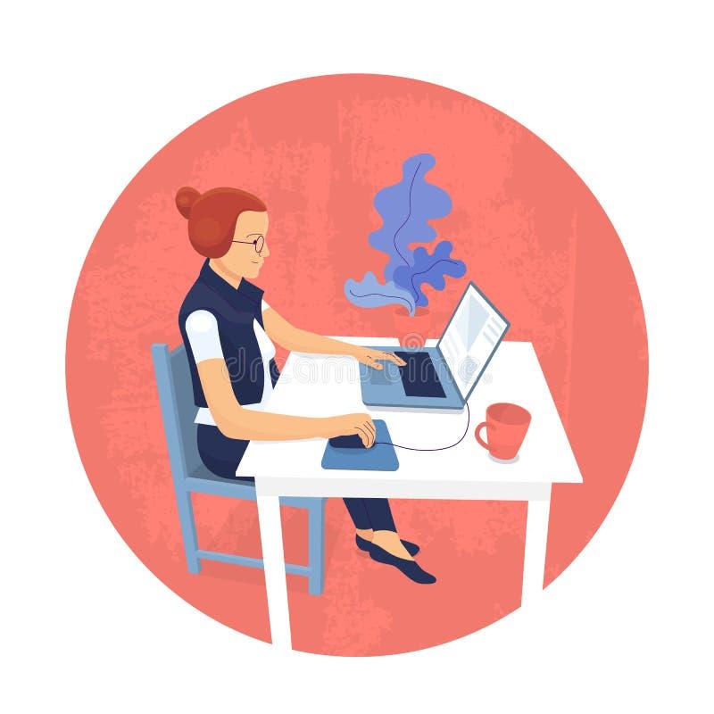 Ο επίπεδος σχεδιαστής κοριτσιών ύφους κάθεται στο γραφείο και εργάζεται με το lap-top, χρησιμοποιώντας τη γραφική ταμπλέτα απεικόνιση αποθεμάτων