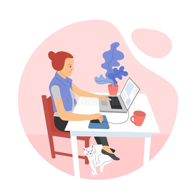 Ο επίπεδος σχεδιαστής κοριτσιών ύφους κάθεται στο γραφείο και εργάζεται με το lap-top, χρησιμοποιώντας τη γραφική ταμπλέτα διανυσματική απεικόνιση