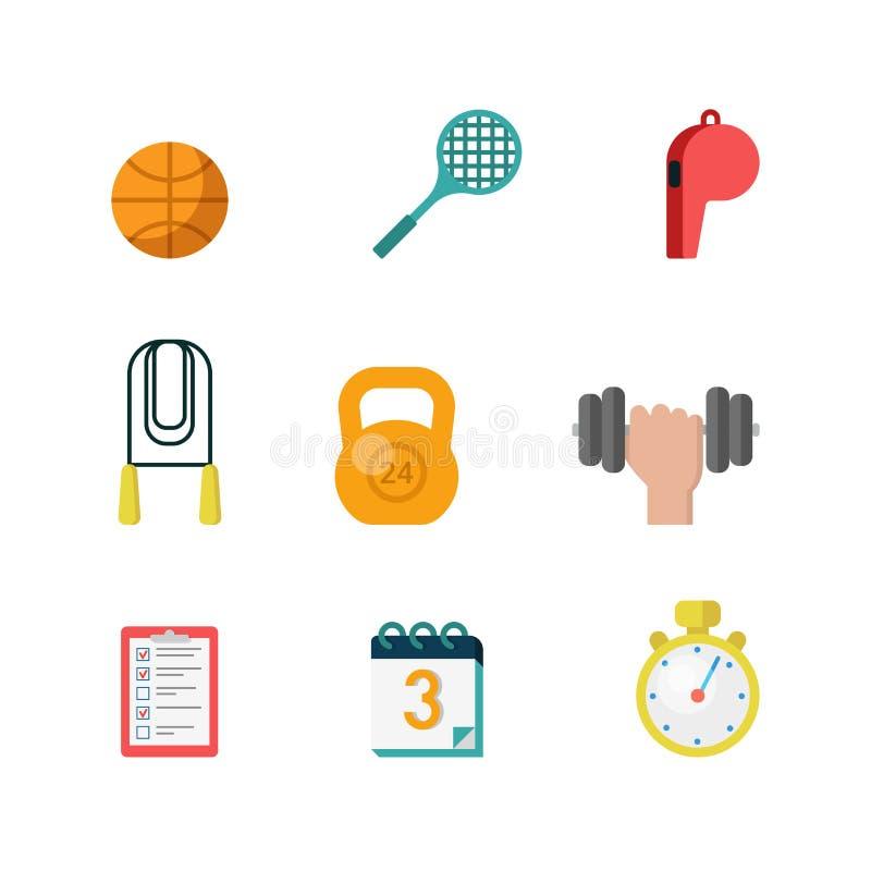 Ο επίπεδος διανυσματικός αθλητισμός ασκεί το κινητό app Ιστού εικονίδιο: σφαίρα, ρακέτα ελεύθερη απεικόνιση δικαιώματος