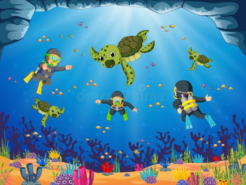Ο επαγγελματικός δύτης βουτά με την πράσινη χελώνα διανυσματική απεικόνιση