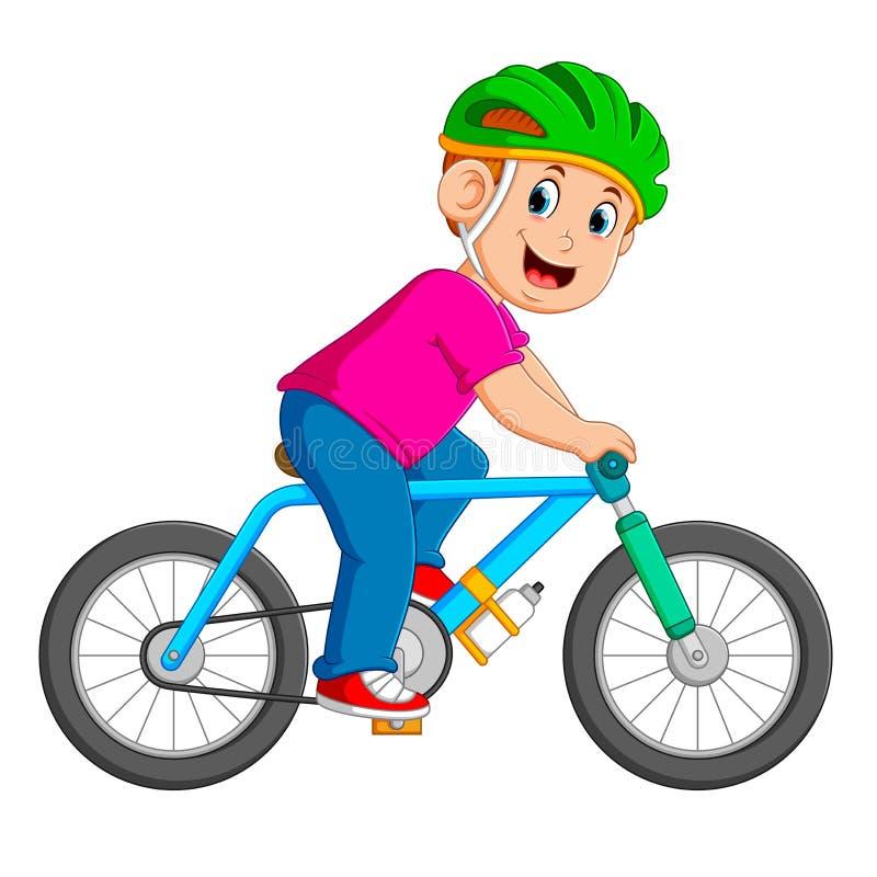 Ο επαγγελματικός ποδηλάτης οδηγά στο μπλε ποδήλατο απεικόνιση αποθεμάτων