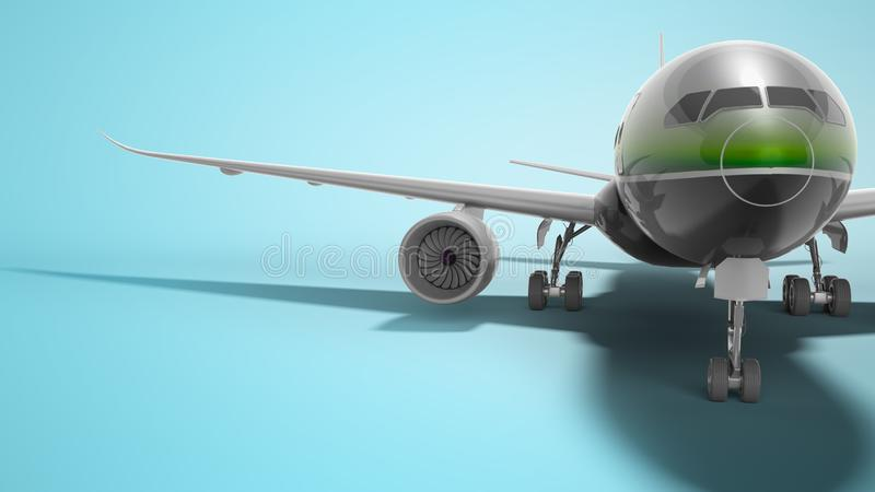 Ο επιβάτης τα αεροσκάφη με το πράσινο ένθετο τρισδιάστατο δίνει στο μπλε υπόβαθρο με τη σκιά διανυσματική απεικόνιση