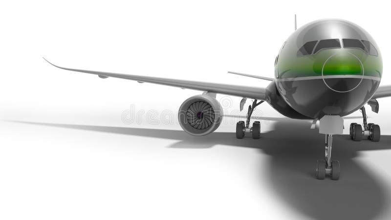 Ο επιβάτης τα αεροσκάφη με το πράσινο ένθετο τρισδιάστατο δίνει στο άσπρο υπόβαθρο με τη σκιά ελεύθερη απεικόνιση δικαιώματος