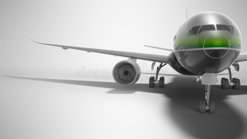 Ο επιβάτης τα αεροσκάφη με το πράσινο ένθετο τρισδιάστατο δίνει στο γκρίζο υπόβαθρο με τη σκιά απεικόνιση αποθεμάτων