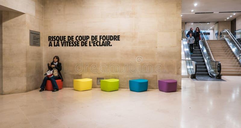 Ο επισκέπτης γυναικών κάθεται στο ζωηρόχρωμο υποστύλωμα στο ιπποδρόμιο du Louvr στοκ εικόνα