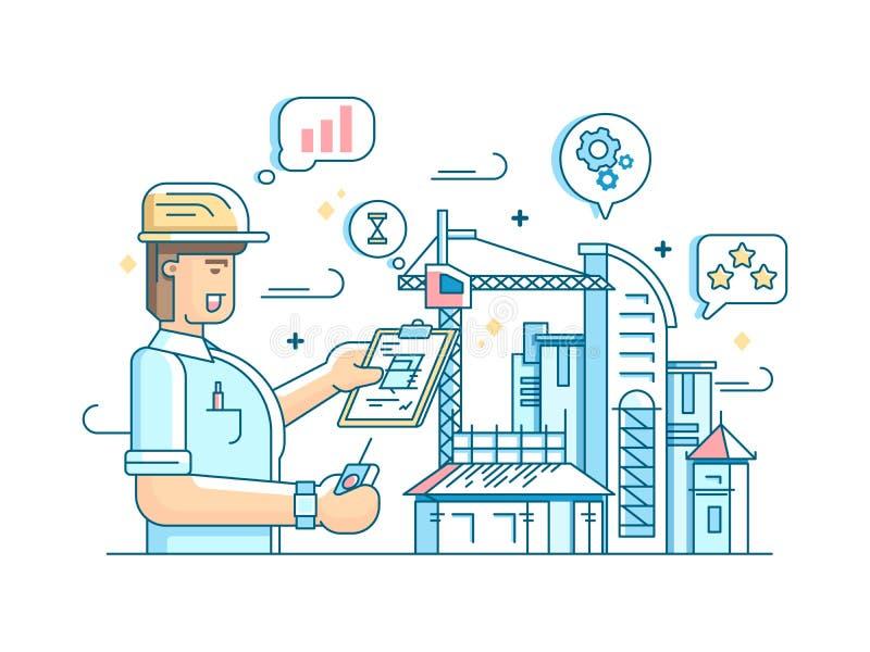 Ο επιστάτης ελέγχει την κατασκευή της οικοδόμησης ελεύθερη απεικόνιση δικαιώματος