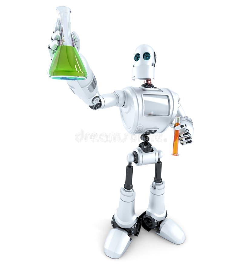 Ο επιστήμονας ρομπότ χειρίζεται τους χημικούς σωλήνες απομονωμένος Περιέχει το μονοπάτι ψαλιδίσματος ελεύθερη απεικόνιση δικαιώματος