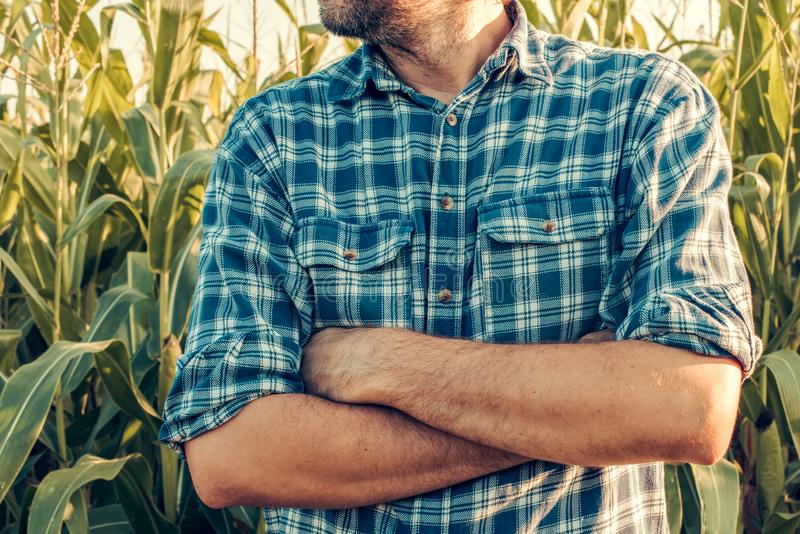 Ο επισφαλής αγρότης με τα όπλα που διασχίζονται στην άμυνα θέτει στοκ φωτογραφίες