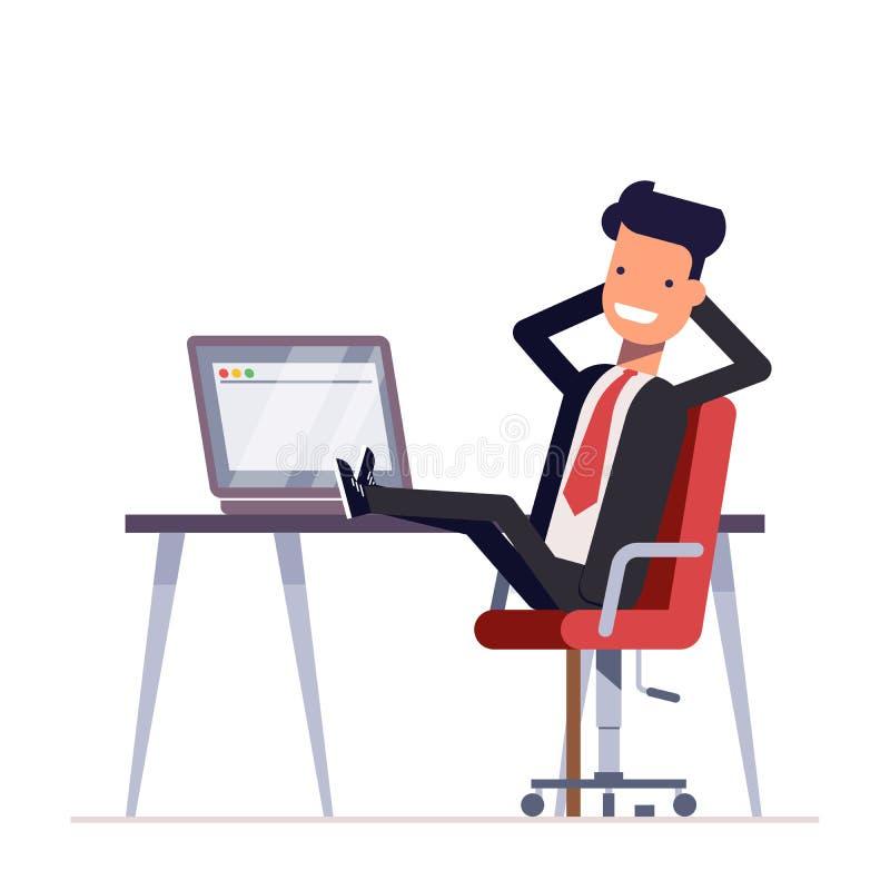Ο επιχειρηματίας ή ο διευθυντής κάθεται σε μια καρέκλα, τα πόδια του στον πίνακα Επιτυχές άτομο που έχει το υπόλοιπο στον εργασια ελεύθερη απεικόνιση δικαιώματος