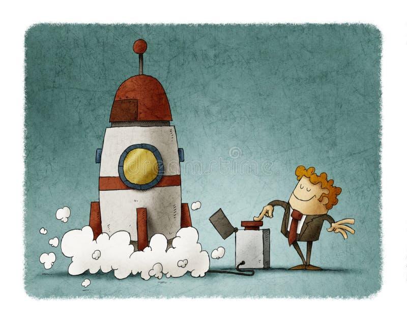 Ο επιχειρηματίας δίπλα σε έναν πύραυλο πιέζει το κουμπί έναρξης διανυσματική απεικόνιση