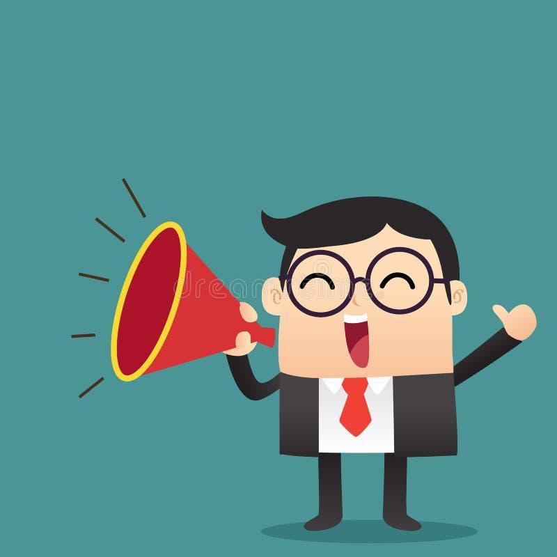 Ο επιχειρηματίας αναγγέλλει με megaphone διανυσματική απεικόνιση