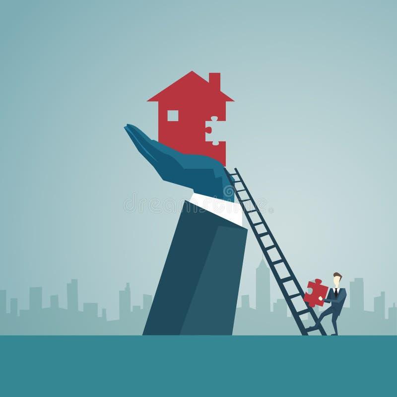 Ο επιχειρηματίας αναρριχείται επάνω στα σκαλοπάτια σκαλών για να χτίσει το σπίτι, έννοια επιτυχίας χρηματοδότησης επιχειρησιακών  απεικόνιση αποθεμάτων