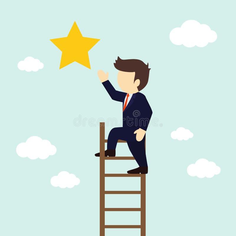 Ο επιχειρηματίας αναρριχείται στα σκαλοπάτια για να πάρει ένα αστέρι r ελεύθερη απεικόνιση δικαιώματος