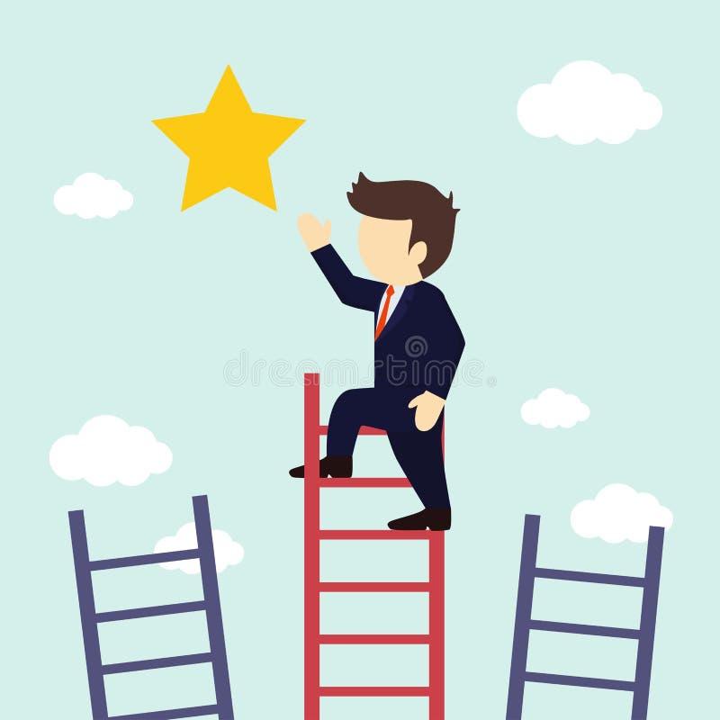 Ο επιχειρηματίας αναρριχείται στα σκαλοπάτια για να πάρει ένα αστέρι r διανυσματική απεικόνιση