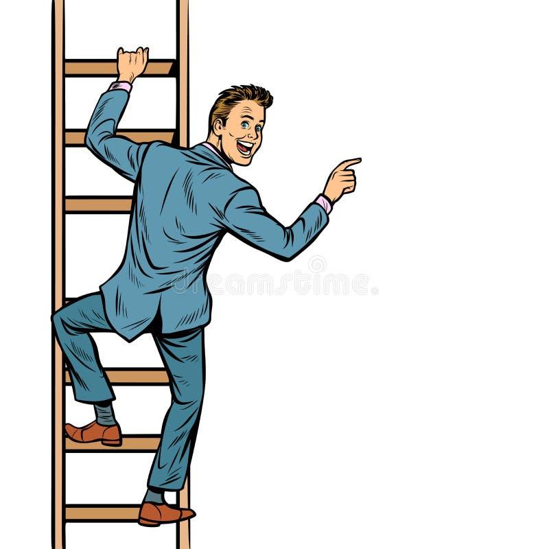 Ο επιχειρηματίας αναρριχείται στα σκαλοπάτια, σημεία ατόμων στο διάστημα αντιγράφων διανυσματική απεικόνιση