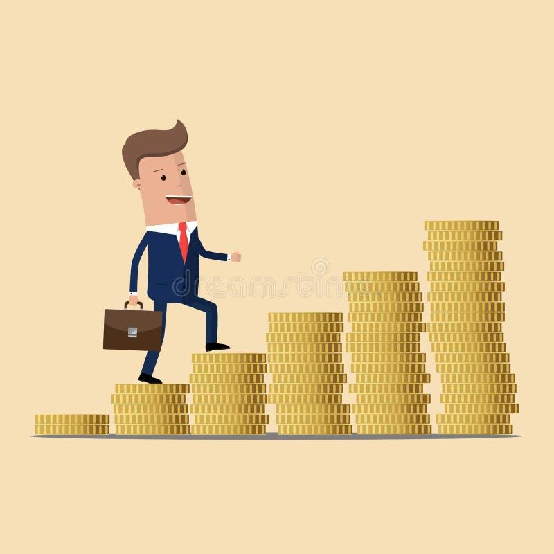 Ο επιχειρηματίας αναρριχείται στα σκαλοπάτια των χρημάτων Σύμβολο της αύξησης εισοδήματος χρυσή ιδιοκτησία βασικών πλήκτρων επιχε διανυσματική απεικόνιση