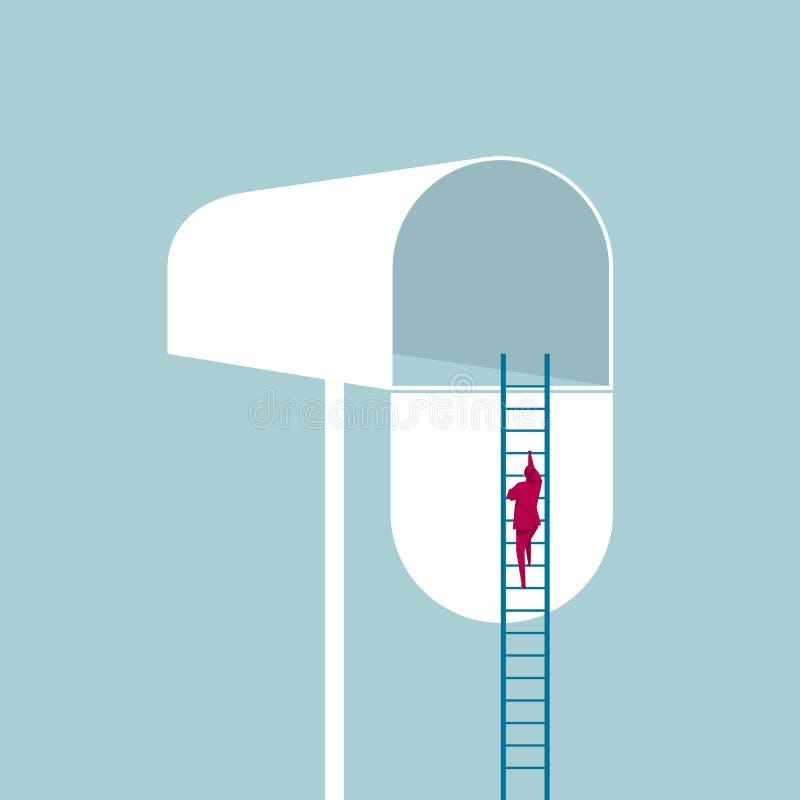 Ο επιχειρηματίας αναρριχείται στην ταχυδρομική θυρίδα και χρησιμοποιεί τη σκάλα διανυσματική απεικόνιση