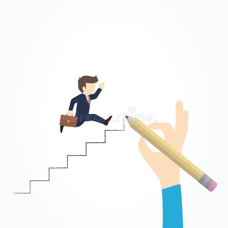 Ο επιχειρηματίας αναρριχείται στη σκάλα της επιτυχίας απεικόνιση αποθεμάτων