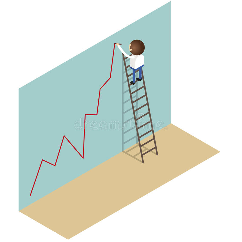 Ο επιχειρηματίας αναρριχείται στη σκάλα γράφει τη γραφική παράσταση διανυσματική απεικόνιση