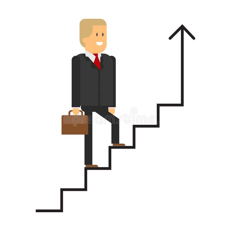 Ο επιχειρηματίας αναρριχείται στο διάνυσμα σκαλοπατιών επάνω η τρισδιάστατη απομονωμένη εδραίωση θέσης σκάλα δίνει το λευκό διάλυ διανυσματική απεικόνιση