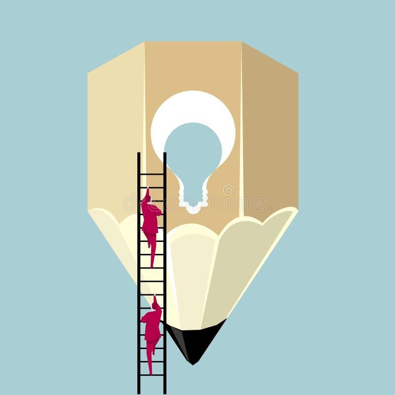Ο επιχειρηματίας αναρριχείται στο μολύβι από τη σκάλα απεικόνιση αποθεμάτων