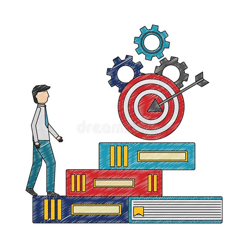 Ο επιχειρηματίας αναρριχείται στο στόχο βημάτων βιβλίων στη τοπ επιτυχία εργαλείων απεικόνιση αποθεμάτων